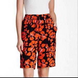 A.L.C. Baxter 100% silk black/orange shorts sz 4